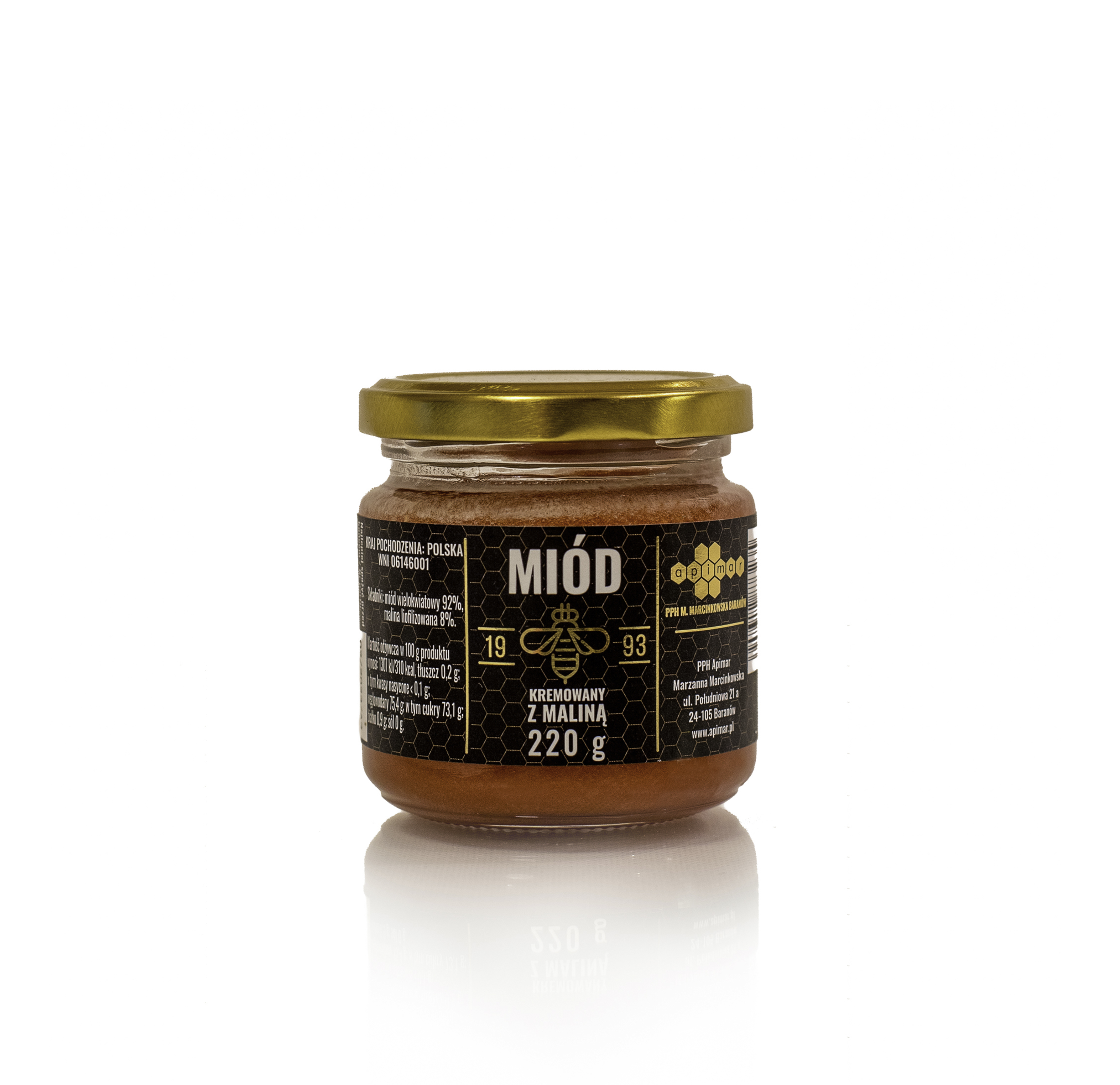cream honey with freeze-dried raspberry 220g