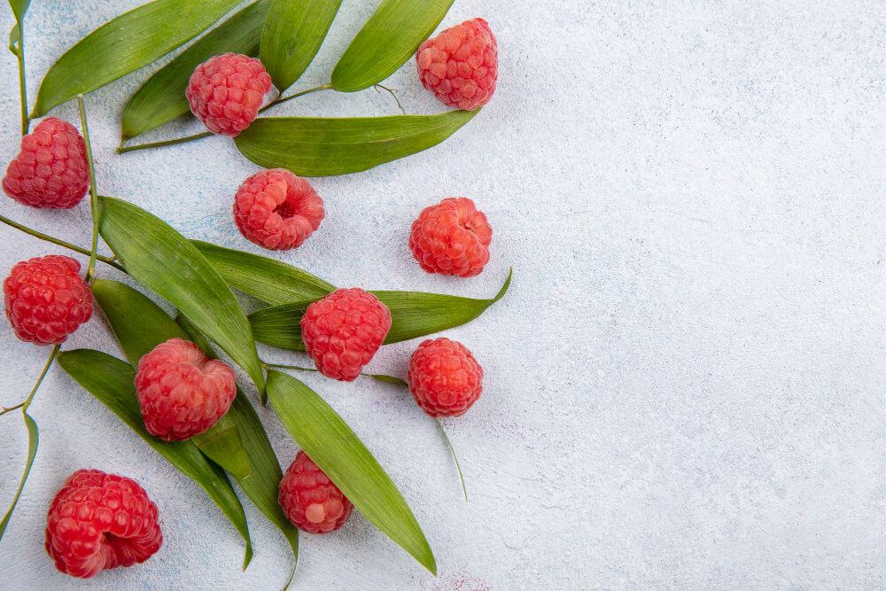 close-up-view-pattern-raspberries-leaves-white-surface-with-copy-space1